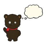 schwarzer Bär der netten Karikatur mit Gedankenblase Lizenzfreie Stockbilder