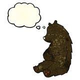 schwarzer Bär der netten Karikatur mit Gedankenblase Lizenzfreies Stockbild