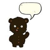 schwarzer Bär der netten Karikatur mit Spracheblase Lizenzfreie Stockfotografie