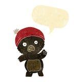 schwarzer Bär der netten Karikatur mit Spracheblase Lizenzfreies Stockbild
