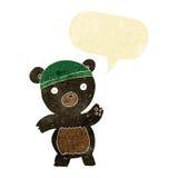 schwarzer Bär der netten Karikatur mit Spracheblase Lizenzfreie Stockfotos