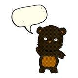 schwarzer Bär der netten Karikatur mit Spracheblase Stockfotografie