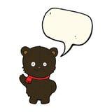 schwarzer Bär der netten Karikatur mit Spracheblase Lizenzfreies Stockfoto