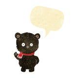schwarzer Bär der netten Karikatur mit Spracheblase Lizenzfreie Stockbilder