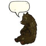 schwarzer Bär der netten Karikatur mit Spracheblase Stockfotos