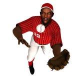 Schwarzer Baseball-Außenfeldspieler Stockbild