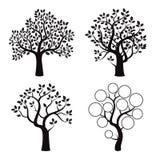 Schwarzer Baum mit Blättern Stockbild