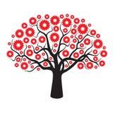 Schwarzer Baum und rote geometrische Blumen Lizenzfreie Stockfotografie