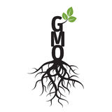 Schwarzer Baum, Wurzeln und Text GMO Lizenzfreies Stockbild