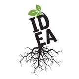 Schwarzer Baum, Wurzeln und Text IDEE Stockfoto