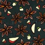 Schwarzer Bretthintergrund Anise Star Seed Seamless Endless-Muster Eine traditionelle Halloween-Festlichkeit Gewürz und Aroma-Glü Lizenzfreie Stockfotos
