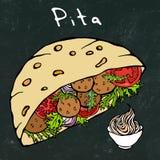 Schwarzer Bretthintergrund Falafel-Pittabrot oder Fleischklöschen-Salat im Taschen-Brot Arabischer Israel Healthy Fast Food Baker vektor abbildung