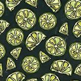 Schwarzer Bretthintergrund Nahtloses endloses Muster des Zitrusfrucht-Kalkes Hand gezeichnete Abbildung Savoyar-Gekritzel-Art Stockfotografie