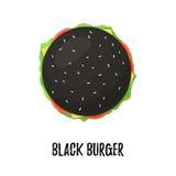 Schwarzer Burger mit Draufsicht des Käses Stockbilder