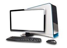 Schwarzer Computer-Schreibtisch auf Weiß stock abbildung