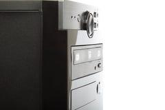 Schwarzer Computerkasten auf einem weißen Hintergrund Stockbild