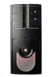 Schwarzer Computerkasten getrennt auf Weiß Stockfoto