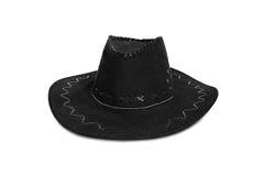 Schwarzer Cowboyhut auf weißem Hintergrund Lizenzfreies Stockfoto