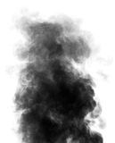 Schwarzer Dampf, der wie Rauch auf weißem Hintergrund aussieht Stockbilder