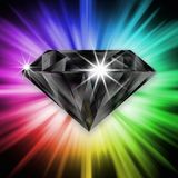 Schwarzer Diamant über Regenbogen Stockfotografie