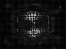 Schwarzer Discoball auf schwarzer Mosaikhintergrundlandschaft Lizenzfreie Stockbilder