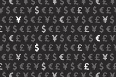 Schwarzer Dollar-Euro Yen Pound Currencies Pattern Background Lizenzfreies Stockfoto