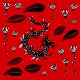 Schwarzer Drache auf einem roten Hintergrund lizenzfreie abbildung