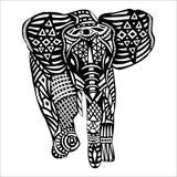 Schwarzer Elefant mit weißen Mustern auf Körper Stockbilder