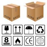 Schwarzer empfindlicher Symbolsatz für Kartonkasten auf weißem Hintergrund Stockfotos