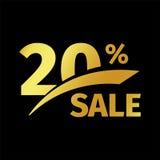 Schwarzer Fahnenrabattkauf 20-Prozent-Verkaufsvektor-Goldlogo auf einem schwarzen Hintergrund Förderndes Geschäftsangebot für Stockfotografie