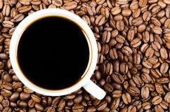 Schwarzer Filterkaffee auf Kaffeebohnen mit Exemplarplatz Lizenzfreie Stockfotografie