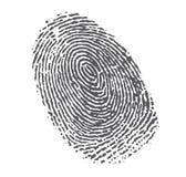 Schwarzer Fingerabdruck auf Weiß Lizenzfreie Stockfotos