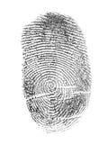 Schwarzer Fingerabdruck lokalisiert auf Weiß Stockbilder