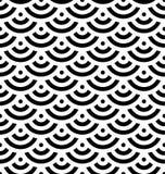 Schwarzer Fischschuppehintergrund von konzentrischen Kreisen Abstraktes nahtloses Muster sieht wie Meereswellen aus Auch im corel Lizenzfreie Stockfotografie