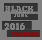Schwarzer Florida-Text im Juni 2016 Stockbilder