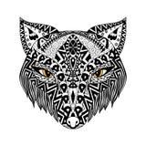 Schwarzer Fox-zentangle Art für T-Shirt oder Druck oder Malbuch Lizenzfreie Stockfotografie
