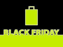 Schwarzer Freitag-Hintergrund mit Einkaufstasche Stockbild