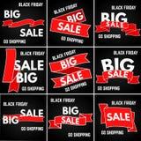 Schwarzer Freitag-Verkauf Band mit neun Rottönen auf einem schwarzen Hintergrund Lizenzfreie Stockfotos