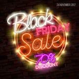 Schwarzer Freitag-Verkauf, enormes Einsparungensplakat-Konzept des Entwurfes, Neonart Lizenzfreies Stockfoto