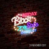 Schwarzer Freitag-Verkauf, enormes Einsparungensplakat-Konzept des Entwurfes, Neonart Lizenzfreie Stockfotos