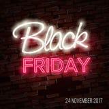 Schwarzer Freitag-Verkauf, enormes Einsparungensplakat-Konzept des Entwurfes, Neonart Stockfotos