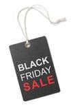 Schwarzer Freitag-Verkaufsaufkleber oder -Tag lokalisiert Stockbild