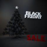 Schwarzer Freitag-Weihnachtsbaumhintergrund Stockfotos