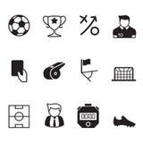 Schwarzer Fußball des Vektors u. Fußballikonen Stockbilder