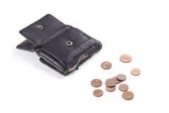 Schwarzer Geldbeutel mit alten Münzen Stockbild