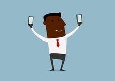 Schwarzer Geschäftsmann, der doppeltes selfie macht Stockfotos