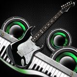 Schwarzer Gitarren-Hexagon-Hintergrund vektor abbildung