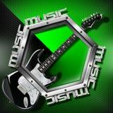 Schwarzer Gitarren-Hexagon-Musik-Hintergrund stock abbildung