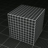 Schwarzer Gitterpapierwürfel auf schwarzem Gitterpapierboden Stockbild