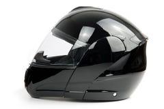 Schwarzer, glänzender Motorradsturzhelm Stockbild